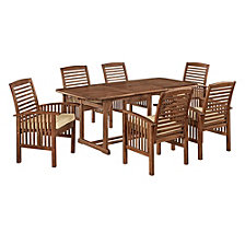 7-Piece Acacia Wood Outdoor Patio Dining Set with Cushions - Dark Brown
