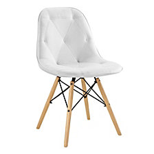 Tufted Faux Leather Chairs, White - Set of 2