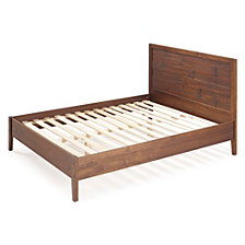 Transitional Plank Distressed Solid Pine Wood Queen Bed, Mahogany