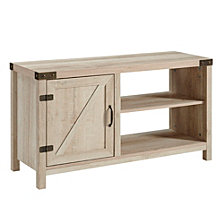 "44"" Rustic Farmhouse Barn Door TV Stand Storage Console with Shelving - White Oak"