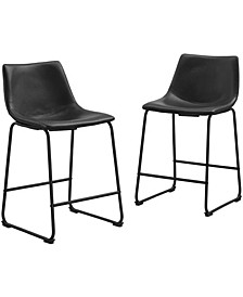 Set of 2 Black Faux Leather Kitchen Dining Counter Stools