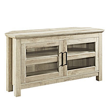 "44"" Corner Wood TV Console - White Oak"