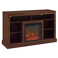 "52"" Fireplace Tall TV Console with Open Storage - Traditional Brown"