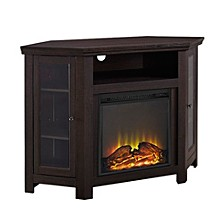 """48"""" Classic Traditional Wood Corner Fireplace Media TV Stand Console - Espresso"""