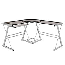 "51"" Contemporary Metal and Glass L-Shaped Corner Home Office Computer Desk with CPU Stand - Smoke"