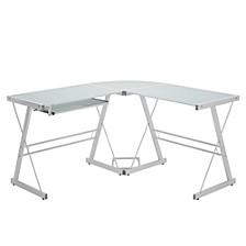 "Home Office 51"" L-Shaped Corner Computer Desk - White"