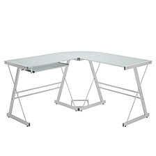 "Home Office 51"" L-Shaped Corner Computer Desk - White"