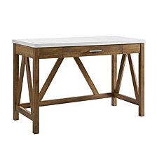 "46"" Rustic Farmhouse A-Frame Two Tone Computer Desk with Drawer - Natural Walnut Base/White Marble Top"