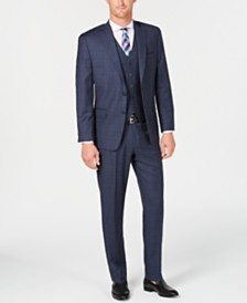Michael Kors Men's Classic/Regular Fit Natural Stretch Blue Check Vested Wool Suit