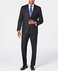 Michael Kors Men's Classic/Regular Fit Natural Stretch Charcoal Windowpane Check Wool Suit