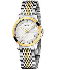 Gucci Women's Swiss G-Timeless Stainless Steel Bracelet Watch 27mm YA126511