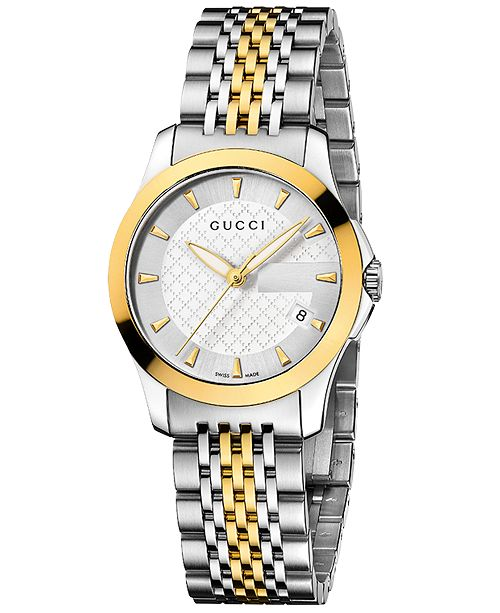 fa36fd73a49 ... Gucci Women s Swiss G-Timeless Stainless Steel Bracelet Watch 27mm  YA126511 ...