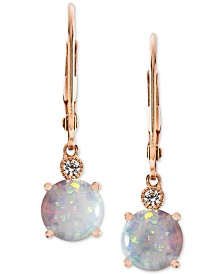 Lab-Created Opal (1-1/2 ct. t.w.) & White Sapphire Accent Drop Earrings in 14k Rose Gold-Plated Sterling Silver