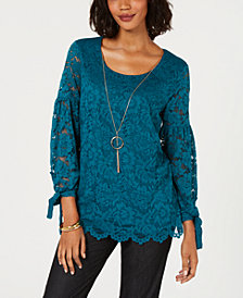 JM Collection Petite Stretch-Lace Necklace Top, Created for Macy's