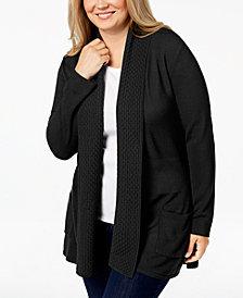 Karen Scott Plus Size Textured Shawl-Collared Cardigan Sweater, Created for Macy's