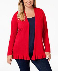 Karen Scott Plus Size Ruffled-Hem Cardigan Sweater, Created for Macy's