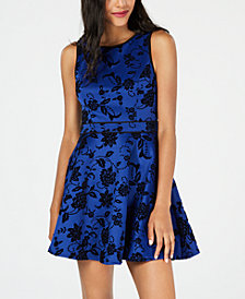 City Studios Juniors' Flocked Fit & Flare Dress