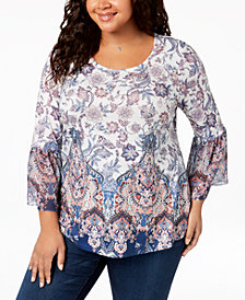 Style & Co Plus Size Printed Lantern-Sleeve Top, Created for Macy's