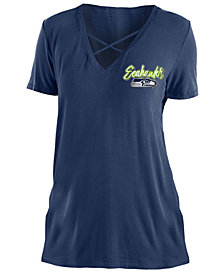 5th & Ocean Women's Seattle Seahawks Cross V T-Shirt