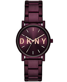 DKNY Women's SoHo Port Purple Stainless Steel Bracelet Watch 34mm, Created for Macy's