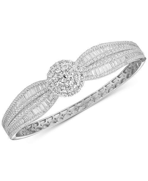 Tiara Cubic Zirconia Baguette Cluster Bangle Bracelet in Sterling Silver