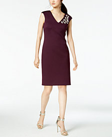 Calvin Klein Rhinestone Scuba Sheath Dress