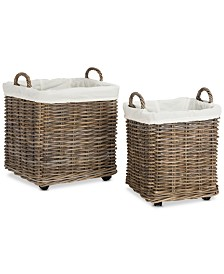 Amari Rattan Square Baskets with Wheels (Set of 2), Quick Ship