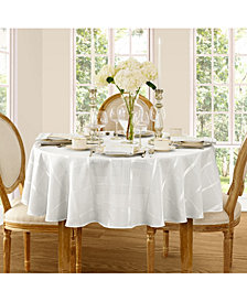 "Elrene Elegance Plaid White 90"" Round  Tablecloth"