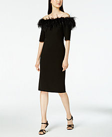 Calvin Klein Faux-Feather Off-The-Shoulder Dress