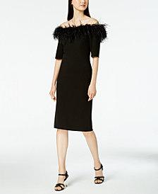 Calvin Klein Faux-Feather Off-The-Shoulder Dress