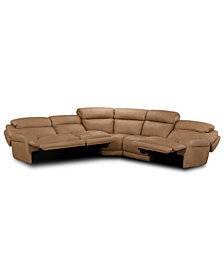 Daventry 5-Pc. Leather Sectional Sofa With 3 Power Recliners, Power Headrests And USB Power Outlet