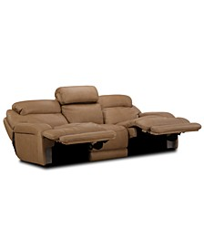 "Daventry 116"" 3-Pc. Leather Sectional Sofa With 2 Power Recliners, Power Headrests And USB Power Outlet"