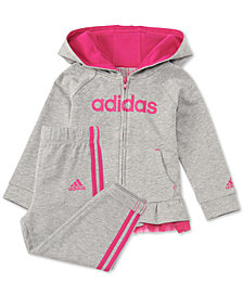 adidas Baby Girls 2-Pc. Peplum Hoodie & Jogger Pants Set
