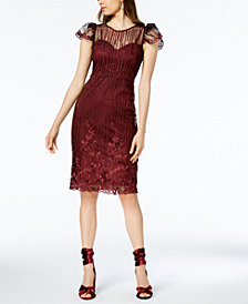 Taylor Embroidered Cap-Sleeve Sheath Dress