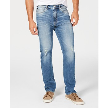 Calvin Klein Men's Straight-Fit Ripped Jeans