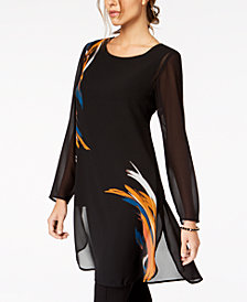 Alfani Petite Placed-Print Chiffon Tunic, Created for Macy's