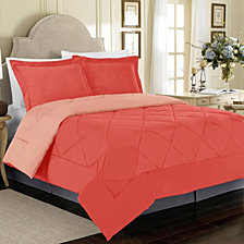 All Season Peach Skin Reversible King Bedding Comforter Set