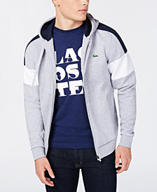 Lacoste Men's Colorblocked Mix-Media Full-Zip Fleece Hoodie