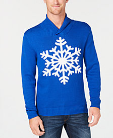 Club Room Men's Shawl-Collar Snowflake Sweater, Created for Macy's
