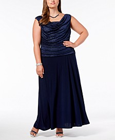 Plus Size Ruched Glitter Gown