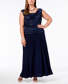 R & M Richards Plus Size Ruched Glitter Gown
