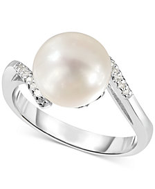 Cultured Freshwater Pearl (9mm) & Diamond Accent Ring in Sterling Silver
