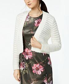 Shadow-Stripe Cropped Cardigan