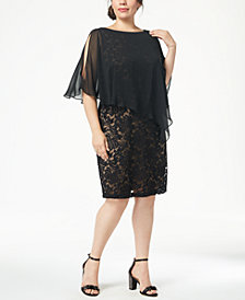 Connected Plus Size Lace & Chiffon Cape Dress