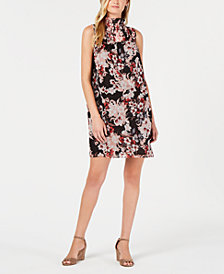 Vince Camuto Printed Smocked Shift Dress