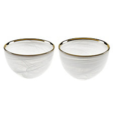 White Alabaster Glass 4 Inch Bowls with Gold Trim - Set of 2