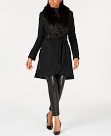 Faux-Fur-Collar Wrap Coat