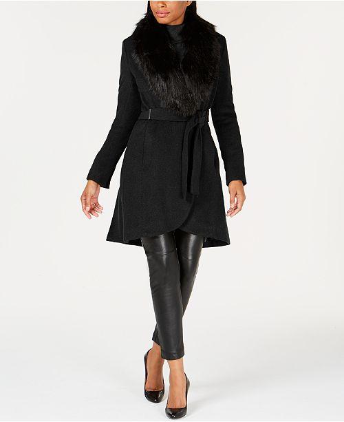 08dbe6c9c4478 Calvin Klein Faux-Fur-Collar Wrap Coat   Reviews - Coats - Women ...