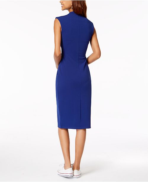 Cobalt Almost Midi Front Famous Dress Juniors' Zip ZwqfYZ