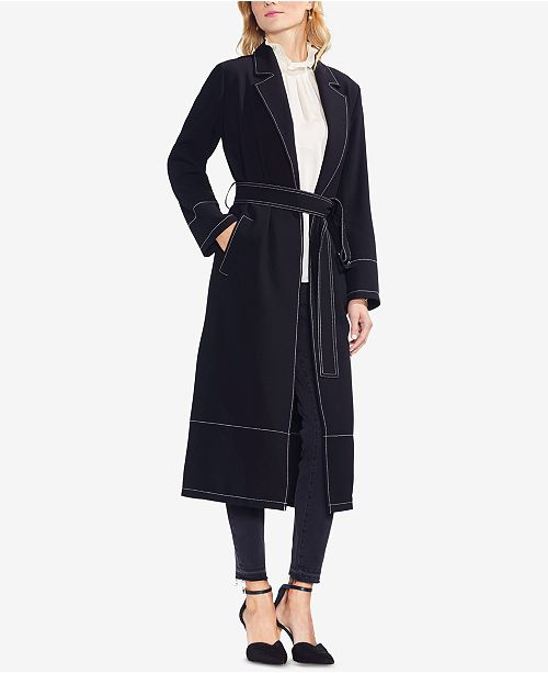 Coat Trench Black Open Camuto Front Vince Rich w6gIBqaC